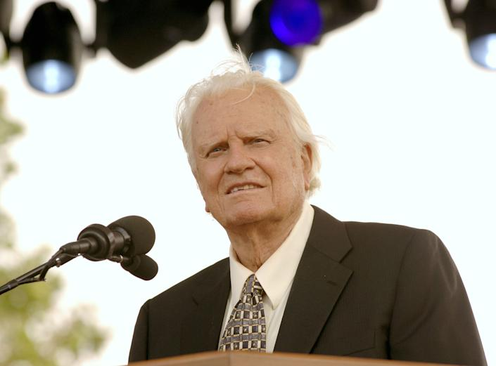Billy Graham delivers a sermon at the Flushing Meadows Park in New York City, New York, on Sunday, June 26, 2005. (Photo: Jemal Countess via Getty Images)