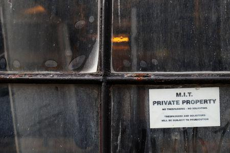A sign hangs in the window of Building 43 marks MIT private property at the Massachusetts Institute of Technology in Cambridge, Massachusetts, U.S., November 21, 2018.  REUTERS/Brian Snyder
