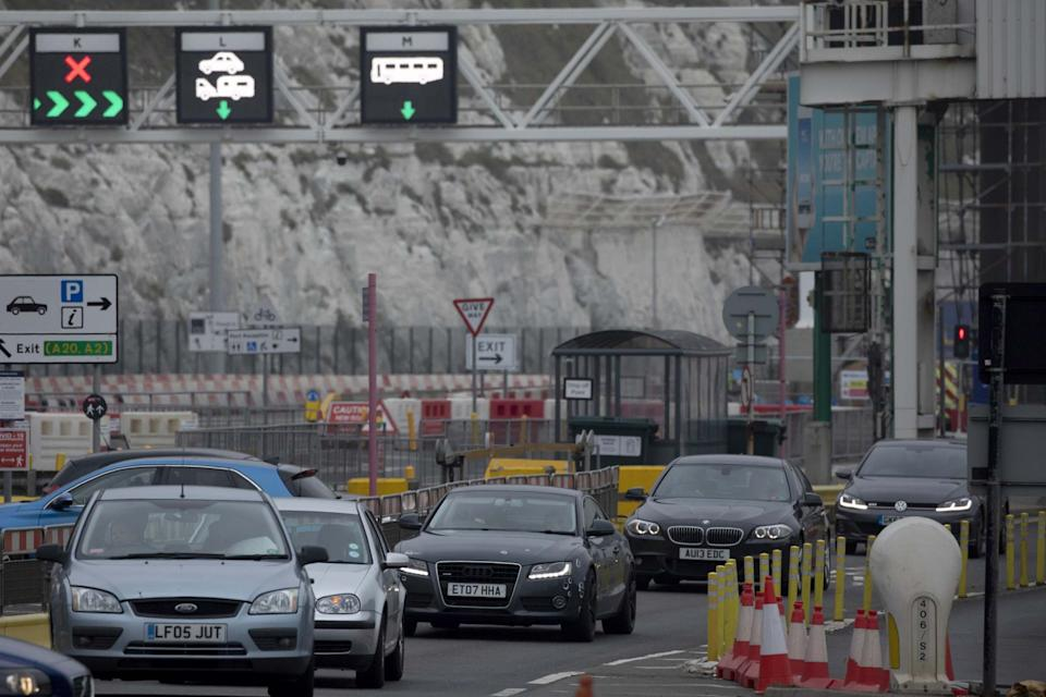Cars leave Dover after disembarking a ferry from France (Getty Images)