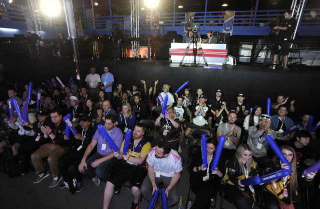 Esports fans cheer on student-gamers during the Collegiate StarLeague Grand Finals on Sunday, April 29, 2018, in Huntington Beach, Calif. (AP)