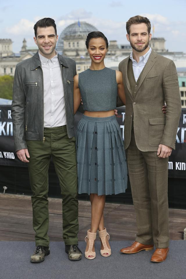 BERLIN, GERMANY - APRIL 28:  (L-R) Actors Zachary Quinto, Zoe Saldana and Chris Pine attend the 'Star Trek Into Darkness' Photocall at China Club on April 28, 2013 in Berlin, Germany.  (Photo by Sean Gallup/Getty Images for Paramount Pictures)