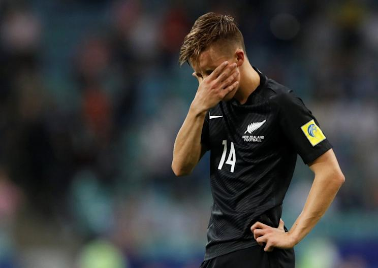 New Zealand's Ryan Thomas strikes a pose akin to what most soccer fans felt waiting for VAR to make a ruling today. (Reuters)