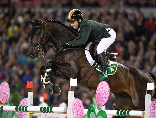 Equestrian - FEI European Championships 2017 - Ullevi Stadium - Gothenburg, Sweden - August 25, 2017 - Cian O'Connor, Eire, rides his horse Good Luck to win the team competition jumping event. TT News Agency/Pontus Lundahl via REUTERS ATTENTION EDITORS - THIS IMAGE WAS PROVIDED BY A THIRD PARTY. SWEDEN OUT. NO COMMERCIAL OR EDITORIAL SALES IN SWEDEN