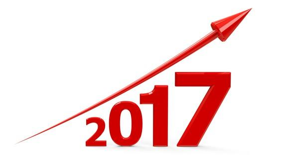 An arrow going up over the year 2017, with each number in 2017 increasing in size from left to right.