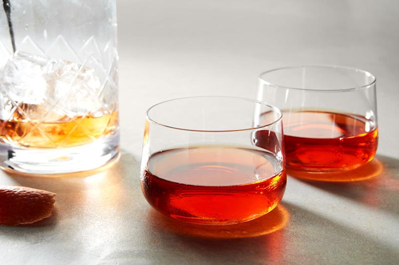 In this riff on the Sazerac, a little Chartreuse and sweet vermouth bridges the gap between whiskey and absinthe.