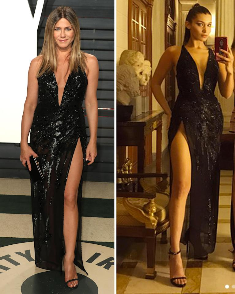 <p>Jennifer Aniston e Bella Hadid in nero con spacco Versace. </p>