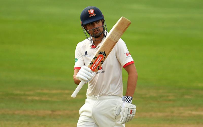 Sir Alastair Cook of Essex celebrates after reaching his half century - Harry Trump/Getty Images