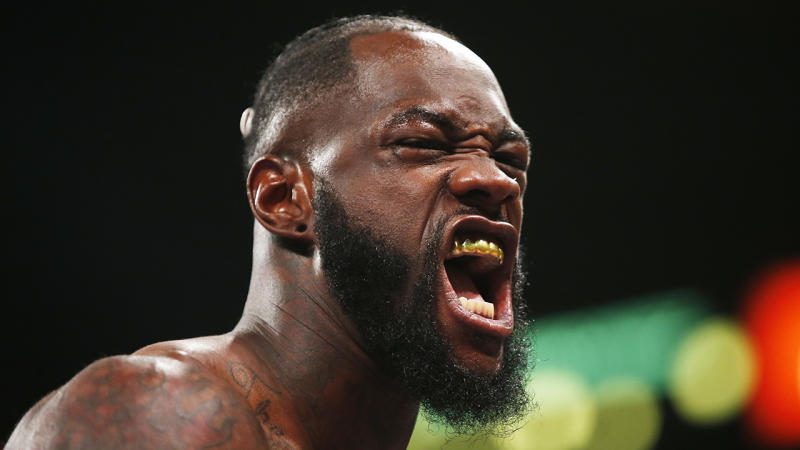 Deontay Wilder, pictured, says he's a tougher, more physical boxer than Anthony Joshua.