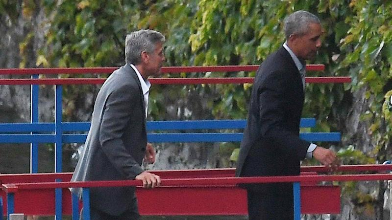Barack and Michelle Obama Hang Out With George and Amal