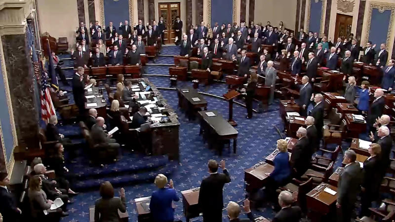Members of the Senate are sworn in by Supreme Court Chief Justice John Roberts ahead the the impeachment trial of Donald J. Trump.(Screengrab: via Yahoo News Video)
