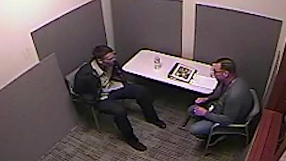 During the interrogation, Detectives Kenerson and Kelly Sanders [not pictured] told David Anthony that they had him on camera ambushing Gretchen. But he insisted she was alive 35 times. / Credit: Jupiter Police Department