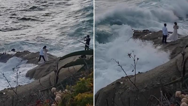 The couple was taking photos on the rocks, when they were swept into the Pacific Ocean.Source: Instagram/@abcnews
