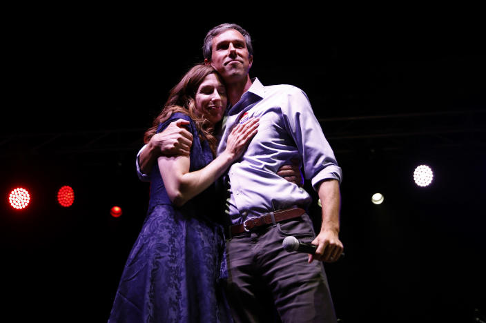 Democratic Texas Senate candidate Rep. Beto O'Rourke embraces his wife, Amy, as he concedes to Sen. Ted Cruz at his midterm election night party in El Paso, Texas, on Tuesday. (Photo: Adria Malcolm/Reuters)