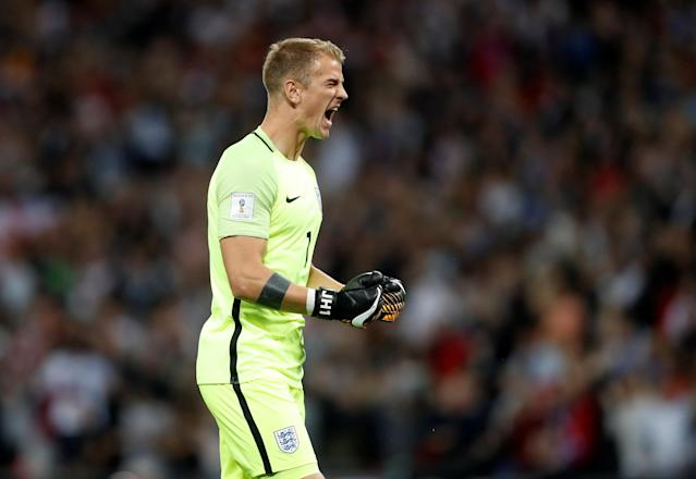 England's Joe Hart celebrates after Marcus Rashford scores their second goal Action Images via Reuters/Carl Recine