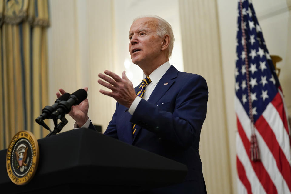 FILE - In this Jan. 22, 2021, file photo President Joe Biden delivers remarks on the economy in the State Dining Room of the White House in Washington. (AP Photo/Evan Vucci, File)