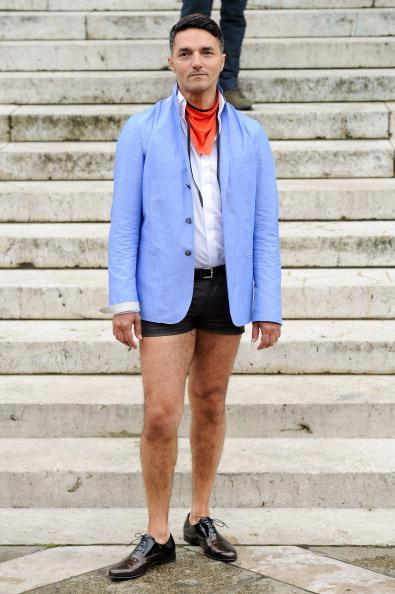"""<div class=""""caption-credit"""">Photo by: Kristy Sparow/Getty Images</div>And finally, a guy with no pants at Gustavolins's outdoor menswear show. No big deal. <br>"""