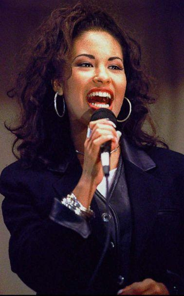 PHOTO: In this Nov. 14, 1994, file photo, Selena sings at the Cunningham Elementary School in Corpus Christi, Texas. (George Gongora/Corpus Christi Caller-Times via AP, FILE)