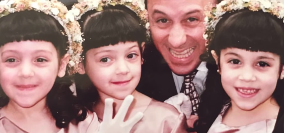Niki and Gabi as children alongside their father, a dentist, who placed the veneers on Gabi's teeth. (Photo: YouTube)
