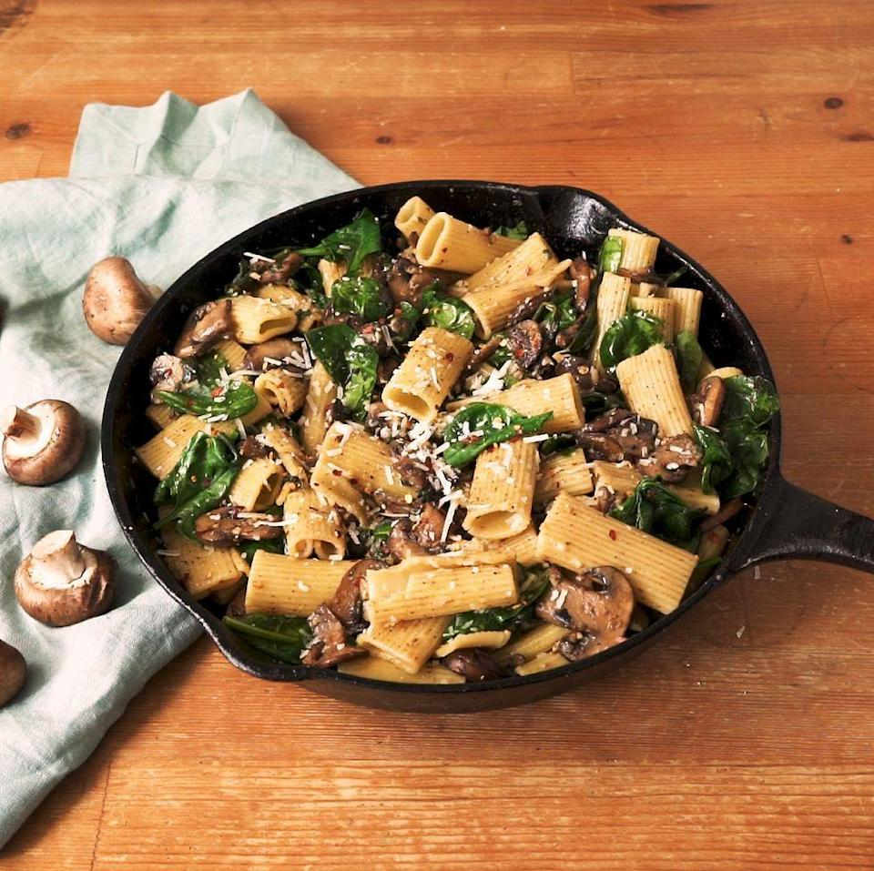 """<p>Garlic butter, cream and plenty of cheese give this epic mushroom pasta recipe its indulgent creamy coating in just 30 minutes.</p><p>Get the <a href=""""https://www.delish.com/uk/cooking/recipes/a32182008/garlic-butter-mushroom-pasta-recipe/"""" rel=""""nofollow noopener"""" target=""""_blank"""" data-ylk=""""slk:Garlic Butter Mushroom Pasta"""" class=""""link rapid-noclick-resp"""">Garlic Butter Mushroom Pasta</a> recipe. </p>"""