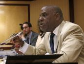 """FILE - In this April 23, 2019 file photo, State Sen. Steven Bradford, D-Compton, speaks during a hearing at the Capitol in Sacramento, Calif. George Floyd's killing last year and the protests that followed led to a wave of police reforms in dozens of states, from changes in use-of-force policies to greater accountability for officers. At the same time, lawmakers in a handful of states have had success addressing racial inequities. Ahead of the verdict Tuesday, April 20, 2021 members of California's Legislative Black Caucus gathered outside the Capitol to highlight police and criminal justice reform bills they hope to advance. Bradford, a Democrat who chairs the caucus says """"The time is now for us to act."""" (AP Photo/Rich Pedroncelli, File)"""