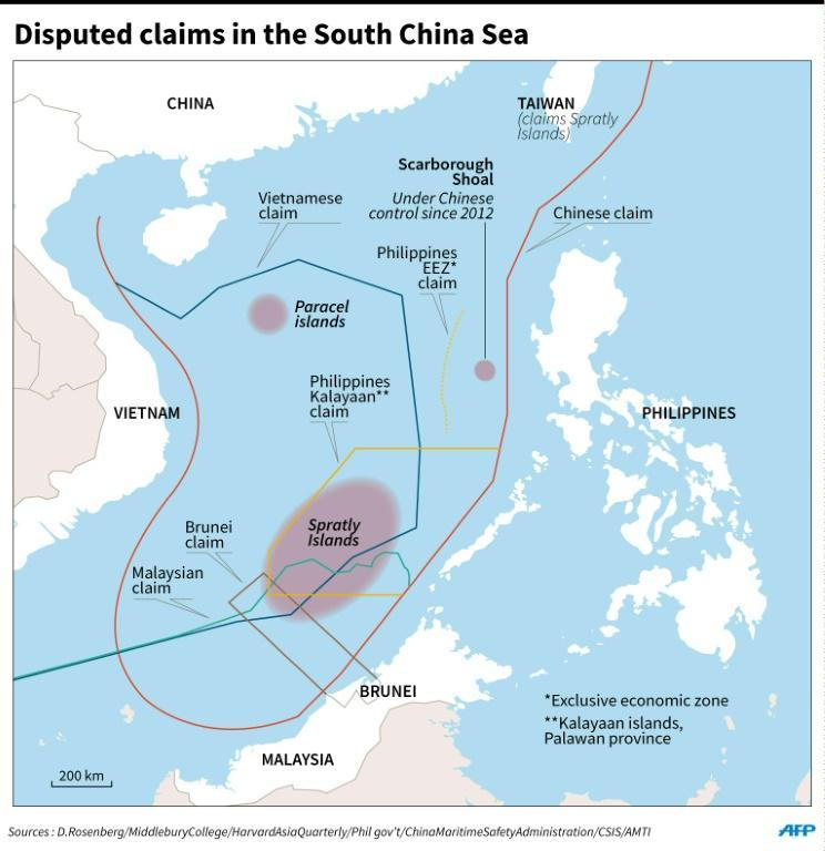 Disputed claims in the South China Sea