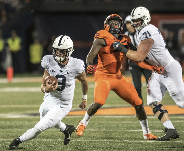 Penn State quarterback Trace McSorley (9) runs the ball against Illinois during the first half of an NCAA college football game Friday, Sept. 21, 2018, in Champaign, Ill. (AP Photo/Holly Hart)