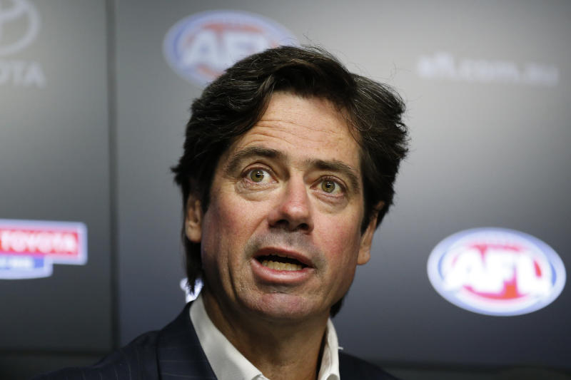 AFL CEO Gillon McLachlan speaks to the media during an AFL press conference.
