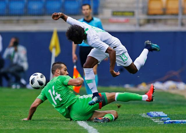Soccer Football - International Friendly - Saudi Arabia v Algeria - Estadio Ramon de Carranza, Cadiz, Spain - May 9, 2018 Saudi Arabia's Yasser Al-Shahrani in action with Algeria's Salim Boukhanchouche REUTERS/Marcelo Del Pozo