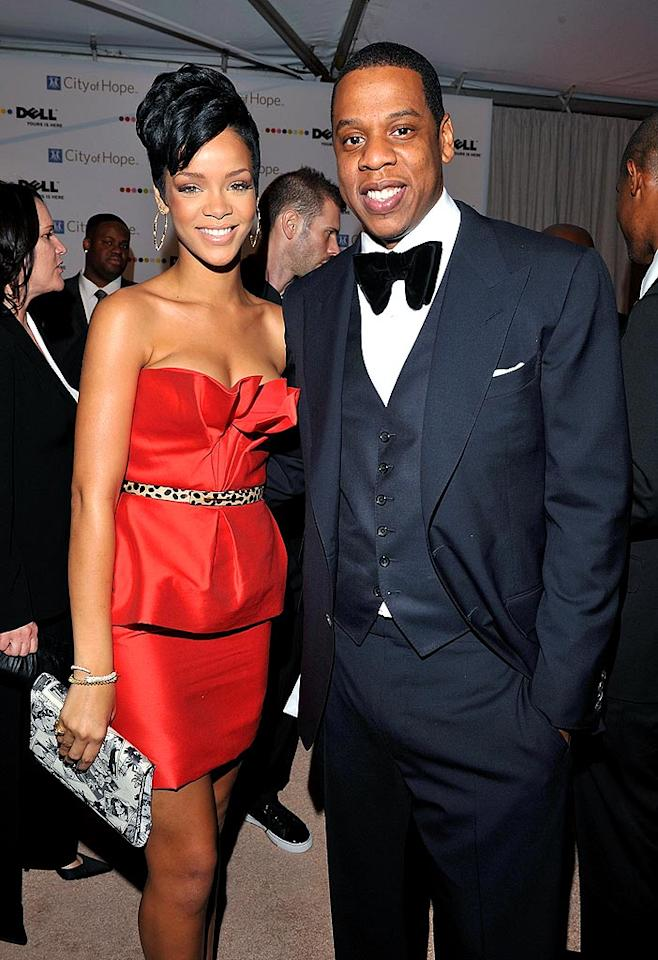 "Rihanna and her mentor Jay-Z attended the 2008 Spirit of Life Award dinner in Santa Monica, CA. This year, the City of Hope-hosted event recognized Universal Music Group CEO Doug Morris for his contributions to his community and industry. Lester Cohen/<a href=""http://www.wireimage.com"" target=""new"">WireImage.com</a> - October 15, 2008"