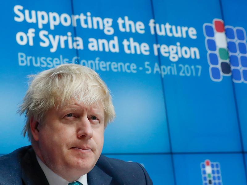Foreign Secretary Boris Johnson at the Brussels Conference on Syria earlier this week: Reuters