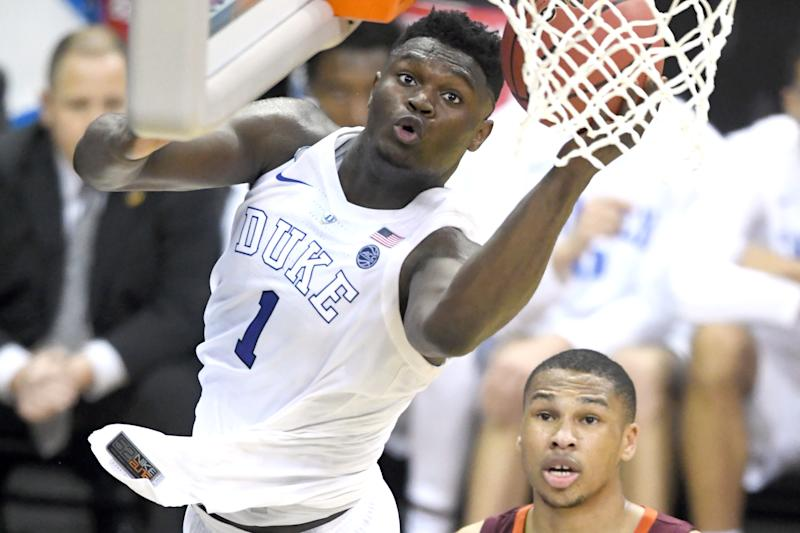 WASHINGTON, DC - MARCH 29: Zion Williamson #1 of the Duke Blue Devils drives to the basket during the East Regional game of the 2019 NCAA Men's Basketball Tournament against the Virginia Tech Hokies at Capital One Arena on March 29, 2019 in Washington, DC. (Photo by Mitchell Layton/Getty Images)