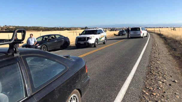 PHOTO: Traffic backs up about 10 miles outside Rancho Tehama, Calif., about 20 miles west of Red Bluff, on Nov. 14, 2017. ( Jim Schultz/Record Searchlight via USA TODAY Network)