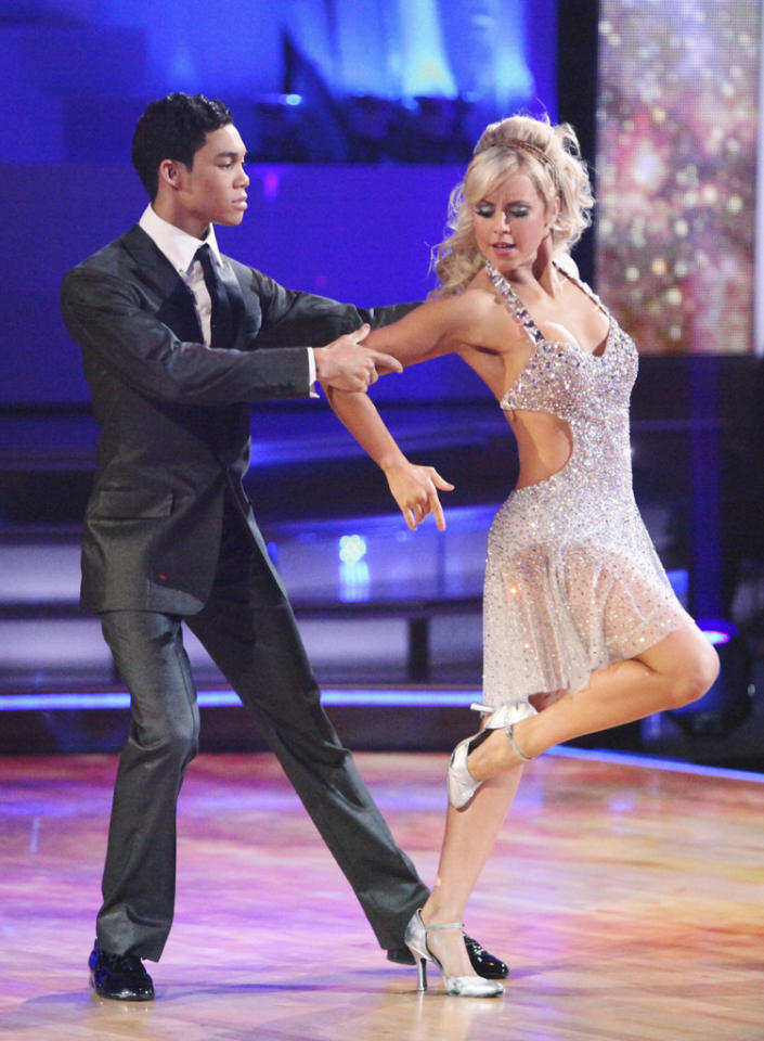 "Roshon Fegan and Chelsie Hightower perform on ""Dancing with the Stars."""