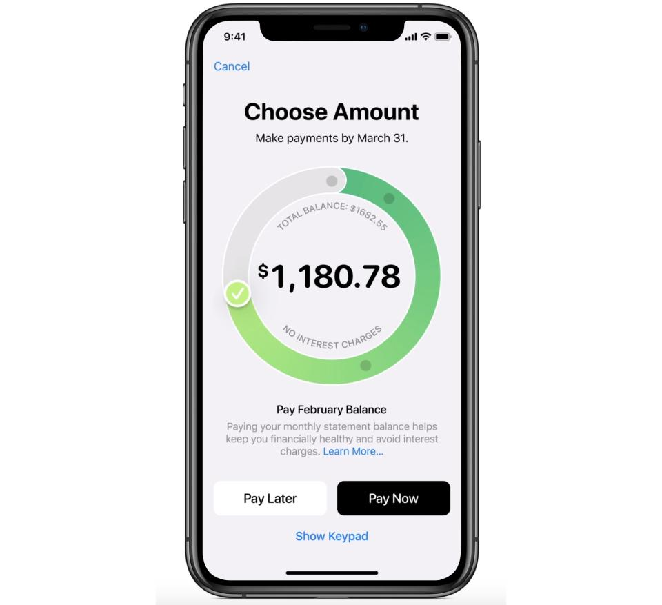 The Apple Card helps you better understand the interest you'll accrue if you don't pay off your balance each month. (Image: Apple)