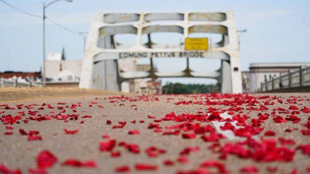 PHOTO: Rose petals representing the blood spilled on Bloody Sunday are seen on the Edmund Pettus Bridge in Selma, Alabama, July 26, 2020. (Elijah Nouvelage/Reuters)