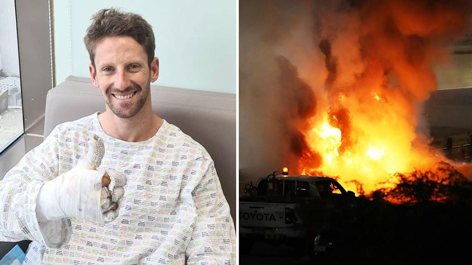 Romain Grosjean (pictured left) in hospital and (pictured right) involved a horrifying crash at the F1 GP in Bahrain.