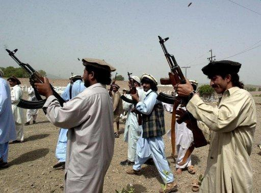 File photo of Pakistani tribesmen near the border with Afghanistan announcing a Jihad (holy war) against India. India's involvement in Afghanistan has enraged neighboring Pakistan, which helped create the Taliban regime and accuses its historic rival of seeking to encircle it