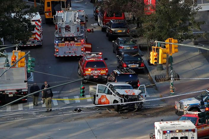 Emergency crews at the the scene of a violent incident on West Street in Manhattan, New York City.