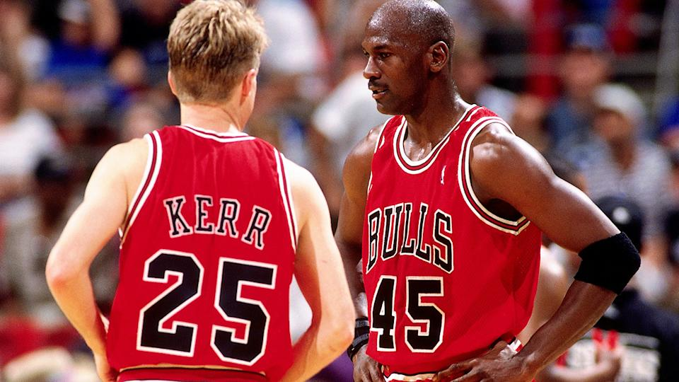 Michael Jordan and Steve Kerr, pictured here in action for the Chicago Bulls in 1995.