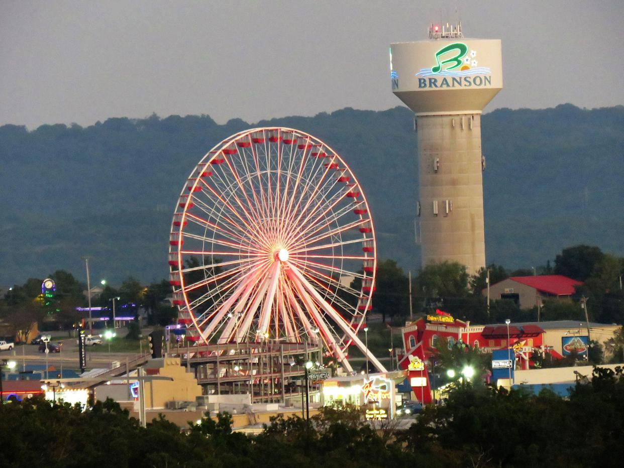 Branson, Missouri, USA—September 3, 2019: Branson, known for musical entertainment, has amusement rides and entertainment for people of all ages. The town is nestled in the Ozark mountains in Missouri.