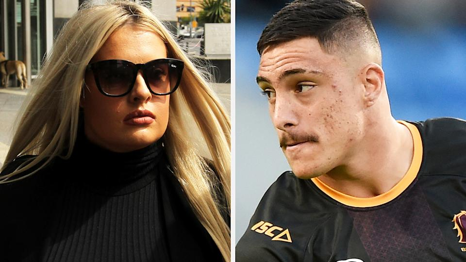 A 50-50 split image shows McKenzie Lorraine Robinson on the left and Brisbane Broncos player Kotoni Staggs on the right.