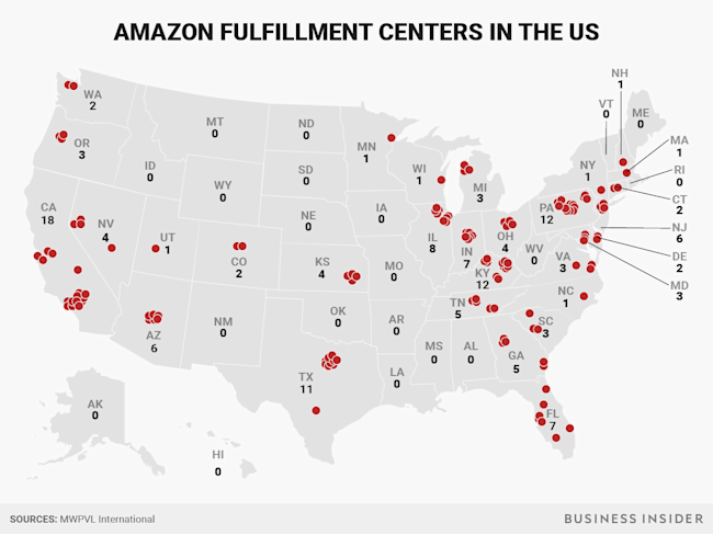 Amazon Fulfillment Centers Map