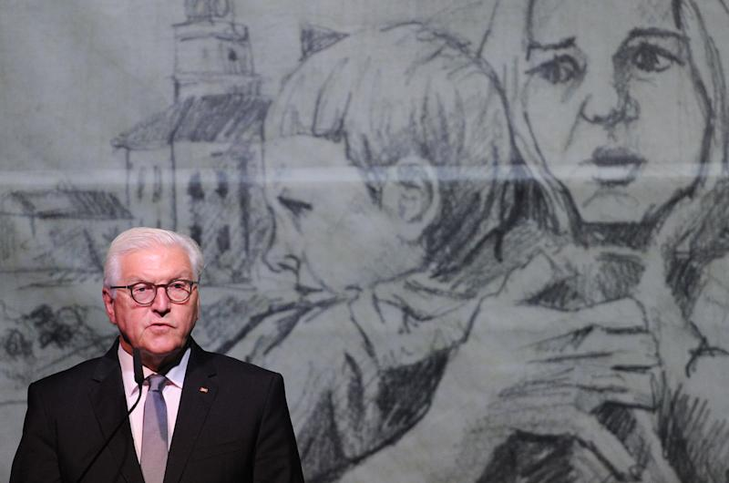 German President Frank-Walter Steinmeier gives a speech during a ceremony marking the 80th anniversary of the outbreak of the World War II, in Wielun on September 1, 2019. - German President Frank-Walter Steinmeier on September 1, 2019 asked Poland's forgiveness for history's bloodiest conflict during a ceremony in the Polish city of Wielun, where the first World War II bombs fell 80 years ago. (Photo by Alik KEPLICZ / AFP) (Photo credit should read ALIK KEPLICZ/AFP/Getty Images)