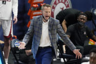 Alabama head coach Nate Oats watches the action in the second half of an NCAA college basketball game against Mississippi State in the Southeastern Conference Tournament Friday, March 12, 2021, in Nashville, Tenn. (AP Photo/Mark Humphrey)