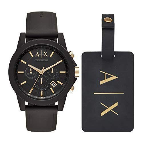 """<p><strong>AX Armani Exchange</strong></p><p>amazon.com</p><p><strong>$109.22</strong></p><p><a href=""""https://www.amazon.com/dp/B074W9WMV5?tag=syn-yahoo-20&ascsubtag=%5Bartid%7C2139.g.35220362%5Bsrc%7Cyahoo-us"""" rel=""""nofollow noopener"""" target=""""_blank"""" data-ylk=""""slk:Shop Now"""" class=""""link rapid-noclick-resp"""">Shop Now</a></p><p>A classic watch is always a solid choice when it comes to selecting a gift for your husband. This Armani Exchange watch looks expensive, but won't break the bank. </p>"""