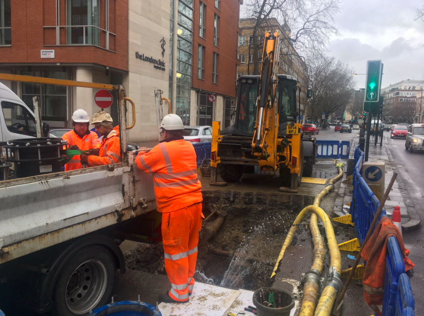 <em>Engineers are working to fix the water pipes for households across the country (Twitter/Thames Water)</em>