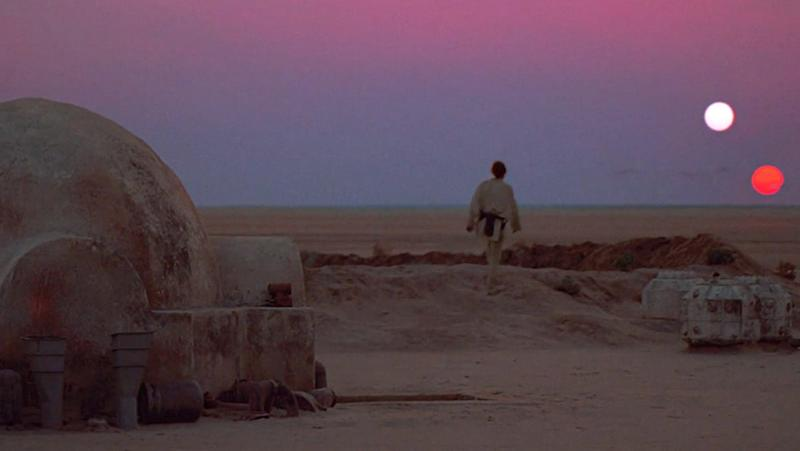 Luke Skywalker observing the twin sunset from his family farm on Tatooine in 'A New Hope.' (Photo: Lucasfilm)