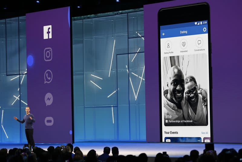 Facebook CEO Mark Zuckerberg announces a dating feature at Facebook's F8 developers conference in San Jose, Calif., May 1, 2018. REUTERS/Stephen Lam