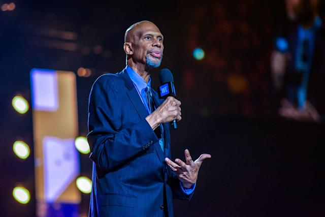 Kareem Abdul-Jabbar speaks on stage during the 2018 WE Day Toronto charity event at Scotiabank Arena on Sept. 20, 2018. (Photo by Dominik Magdziak/Getty Images)