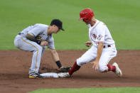 Cincinnati Reds' Josh VanMeter flies into a double play, as Pittsburgh Pirates' Gregory Polanco throws to Kevin Newman, left, causing Cincinnati Reds' Nick Senzel, right, to be out at second base in the second inning during a baseball game at in Cincinnati, Friday, Aug. 14, 2020. (AP Photo/Aaron Doster)